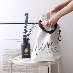 ネコポス送料無料 保冷バッグ ランチバッグ 巾着 33cm×31cm コットン ホワイト【art of black】 artofblackshop