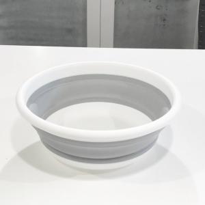 折りたたみ 洗面器 桶 タブ ホワイト グレー 直径37.5×高さ13cm 最大容量9L モノトーン 【art of black】|artofblackshop