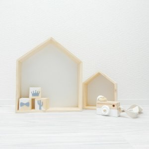 壁掛け 家型木製シェルフ 大小2個セット ホーム ハウス 棚【art of black】|artofblackshop