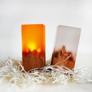 ウッド レジン ナイトライト LED 充電式 USBケーブル付属 間接照明 天然木【art of black】|artofblackshop