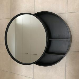 受注販売 サークルミラー 鏡 背面収納 壁掛け 直径50cm ブラック 【art of black】|artofblackshop