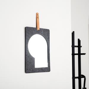 フェルト ガラスミラー レザーベルト付き 【art of black】|artofblackshop