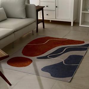 geometry アート ラグ earth color オレンジ ブルー 120cm×160cm 【art of black】|artofblackshop