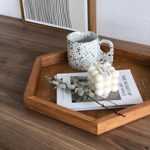 ヘキサゴン 木製プレート タイプ2 大サイズ 37.5cm ウッド カフェトレイ 天然木【art of black】|artofblackshop