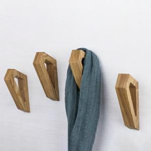 ネコポス送料無料 ウッド 無垢材 フック 多角形 ウォールフック 2.5cm×14.5cm×5.5cm 壁飾り 【art of black】 artofblackshop