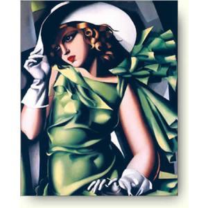 タマラ・ド・レンピッカ 手袋をした娘, 1929年(緑の服の女) 【アートポスター】|artposters