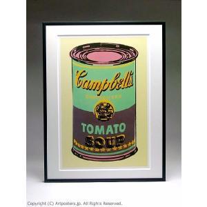 【出荷区分B】アンディ・ウォーホル キャンベルスープ缶(緑と紫) 額付ポスター Andy Warhol:Colored Campbell's Soup Can, 1965 (green & purple)|artposters