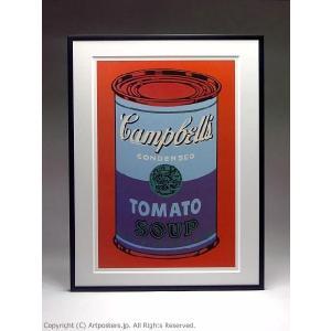 アンディ・ウォーホル キャンベルスープ缶(青と紫) 額付ポスター Andy Warhol:Colored Campbell's Soup Can, 1965 (blue & purple)【特価額装品】|artposters