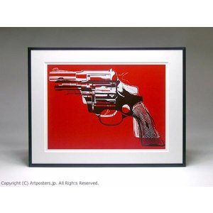 アンディ・ウォーホル 拳銃(赤) 額付ポスター Andy Warhol: Guns, c. 1981-82 (white and black on red)|artposters