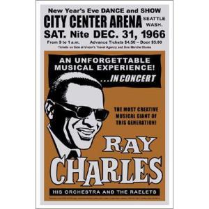 ▼レイ・チャールズポスター/1966年、シアトル 大晦日ダンス&ショー|artposters