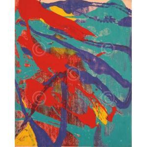 アンディ・ウォーホル Andy Warhol: Abstract Painting, c. 1982 (aqua, red, indigo, yellow) アートポスター|artposters