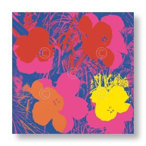 アンディ・ウォーホル:フラワー Andy Warhol: Flowers, 1970 (red, yellow, orange on blue) アートポスター|artposters