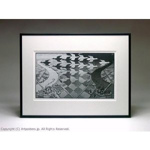 M.C.エッシャー 昼と夜 額付ポスター Maurits Cornelis Escher:Day and Night|artposters