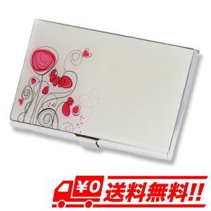 フラワー 薄型 カードケース 名刺入れ 花柄 ハンドミラー ステンレス ピンク×白 イラストチック レディース arts-wig