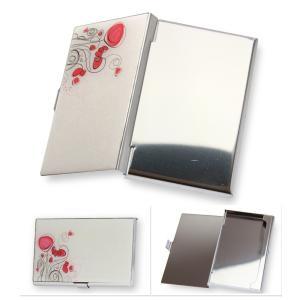 フラワー 薄型 カードケース 名刺入れ 花柄 ハンドミラー ステンレス ピンク×白 イラストチック レディース arts-wig 02