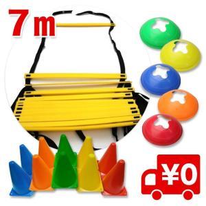 7M ラダー トレーニング トレーニングラダー アジリティラダー イエロー 黄色/ マーカーコーン18個・収納袋付き arts-wig