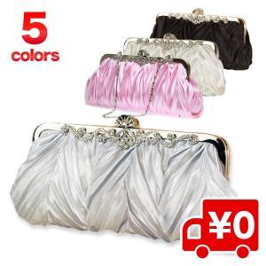 選べる5色 サテンプリーツ パーティーバッグ 3way レディース フォーマルブラック /結婚式 冠婚葬祭|arts-wig