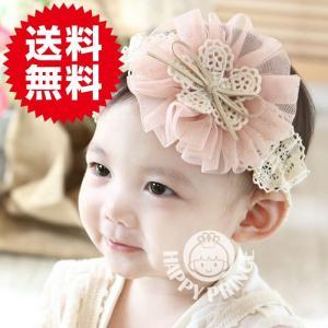 新生児からOK ベビー用ヘアーバンド お花柄 ピンク キッズ・ベビー ヘアアクセサリー・髪飾り|arts-wig