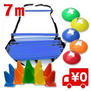 7M ラダー トレーニング トレーニングラダー アジリティラダー ブルー 青色/ マーカーコーン18個・収納袋付き arts-wig