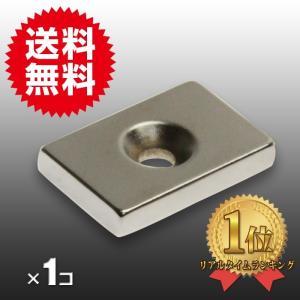 小さくても 超強力 磁石 1個 長方形皿穴付き ネオジウム磁石 マグネット 30mm×20mm×5mm ネジ5mm 鳩よけ|arts-wig