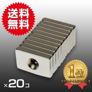 小さくても 超強力 磁石 20個セット 長方形皿穴付き ネオジウム磁石 マグネット 30mm×20mm×5mm ネジ5mm 鳩よけ|arts-wig