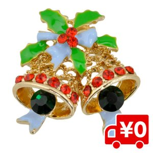 ラインストーン キラキラ クリスマス ブローチ ベル 鐘 パーティー コサージュ イベント 二次会 Christmas Xmas プレゼント|arts-wig