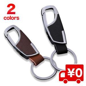 レザー調 キーリング シルバー シンプル キーホルダー キーチェーン 鍵 金具 かっこいい カラビナ メンズ レディース 男女兼用 家 車の鍵に|arts-wig