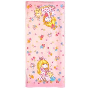 【水森亜土ちゃん】バスタオル 「ミュージックタイム」 ピンク かわいい 女の子 猫 日用品 約50cm×100cm ミニ コンパクト artsalonwasabi