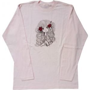 【水森亜土】ロングスリーブTシャツ「ローズ」<ピンク> 長袖 ロンT 大人かわいい 大人カジュアル シンプル イラスト artsalonwasabi