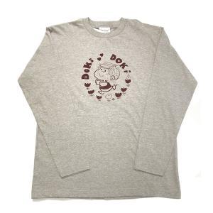 【水森亜土】ロングスリーブTシャツ「ドキドキ」<グレー> 長袖 ロンT 大人かわいい 大人カジュアル シンプル イラスト artsalonwasabi