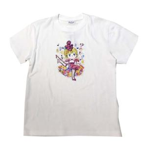 【水森亜土】半袖Tシャツ「ダンス」(ホワイト/ブラック)<フリーサイズ/男女兼用> ゆったり かわいい 大人カジュアル シンプル イラスト artsalonwasabi