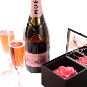 【セット商品】プリザボックス(名入れミラー&ダイヤモンドローズ)&シャンパン(モエ ロゼ750ml)&リーデルシャンパングラス(2コ)セット|arttech21