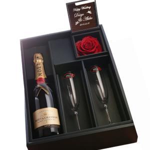 【セット商品】プリザボックス(名入れミラー&ダイヤモンドローズ)&シャンパン(モエ 白750ml)&リーデルシャンパングラス(2コ)セット|arttech21