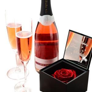 【セット商品】プリザボックス(名入れミラー&ダイヤモンドローズ)&スパークリングワイン&リーデルシャンパングラス(2コ)セット|arttech21