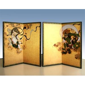臨済宗大本山 建仁寺の至宝『風神雷神図』を美しく再現。二曲一双のミニ屏風に仕立てました。 ギフトは勿...