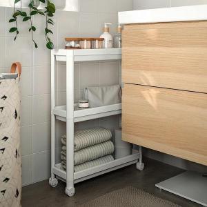 IKEA /イケア すき間収納ラック プラスチック製 ランドリー バスルーム 隙間  3段 キャスター付きプラワゴン VESKEN すき間家具|artworks