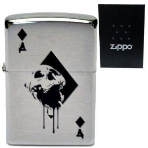 zippo ジッポーライター オリジナル 刻印 #200 スカル ダイヤ  トランプ柄 エース パンク ロック 髑髏 ドクロ 骸骨 aruarumarket