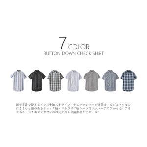 カジュアルシャツ メンズ 半袖 チェック柄 ブ...の詳細画像1