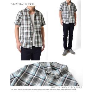 カジュアルシャツ メンズ 半袖 チェック柄 ブ...の詳細画像4