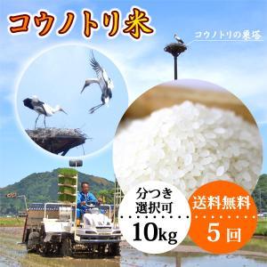 平成29年産 定期購入 送料無料 お米10kg×5回 玄米 白米 コウノトリ米|arumama