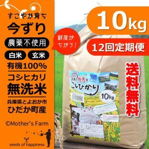 定期購入10kgx12回 令和元年産 玄米 白米 今ずり米 無洗米 農薬不使用 コシヒカリ|arumama