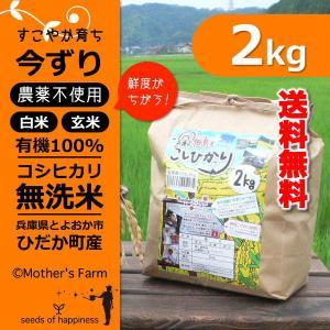 【新米】玄米 白米 2kg 今ずり米 無洗米 農薬不使用 コシヒカリ 令和元年産|arumama
