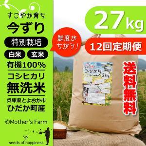 【定期購入】令和2年産 27kgx12回 玄米 白米 今ずり米 無洗米 減農薬・特別栽培米 コシヒカリ|arumama