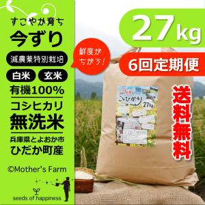 【新米】【定期購入】 27kgx6回 令和元年産 玄米 白米 今ずり米 無洗米 減農薬・特別栽培米 コシヒカリ|arumama