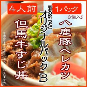 【道の駅やぶ】但馬牛すじ丼・八鹿豚ヘレカツ 【オリジナルパック B】|arumama