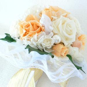 結婚式ブーケ送料無料プリザーブドフラワー !ローズ(オレンジホワイト)【No.2】|arumama