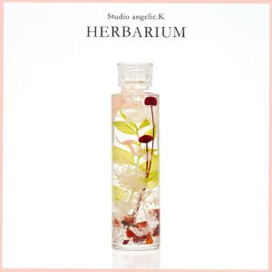 残暑お見舞い ハーバリウム プレゼント 花 ギフト 円柱瓶(小)天然石入り  cis001|arumama