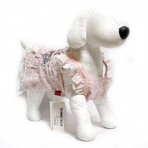 犬 服 キラキラフリルワンピース ピンク Lサイズ ラインストーン リボン かわいい CB124875|arumik-one