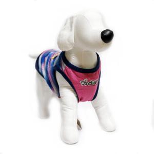 犬 服 ヤシの木ボーダークールタンク ネイビー ピンク Mサイズ 夏服 涼しい COOL ハイビスカス DS121931|arumik-one