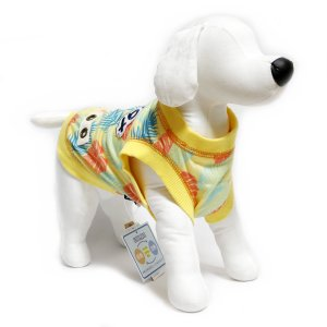 犬 服 トロピカルカラークールタンク イエロー XXLサイズ 夏服 涼しい COOL モンステラ ヤシの葉 DS121949|arumik-one